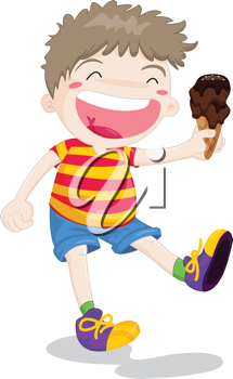 Illustration of boy with icecream in hand