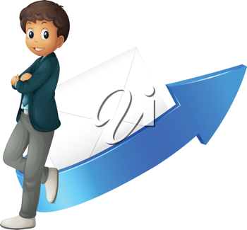 illustration of a boy, arrow and envelop on a white background