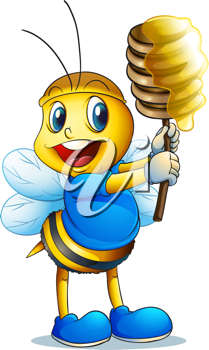 illustration of a honey bee on a white background