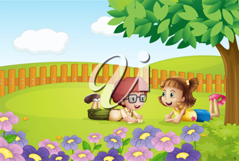 Illustration of a girl and a boy lying in a beautiful nature