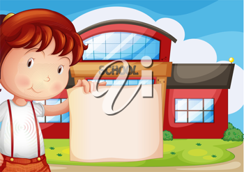 Illustration of a child holding an empty piece of paper in front of the school