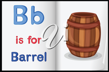 Illustration of a barrel in a book on a white background