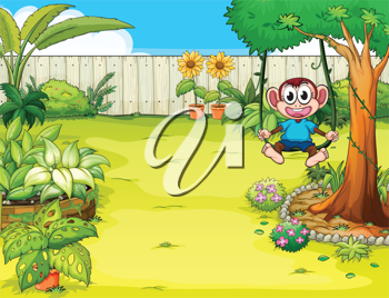 Illustration of a playing monkey in the garden