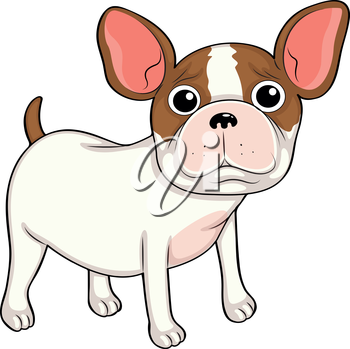 Illustration of a lonely puppy on a white background