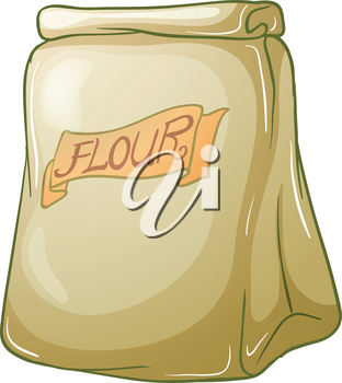 Illustration of a sack of flour on a white background