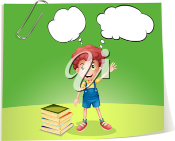 Illustration of a young boy with bubble notes