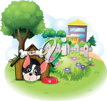 Illustration of a dog with a doghouse across the high buildings on a white background