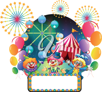 Illustration of the three clowns in front of a carnival with an empty signage on a white background