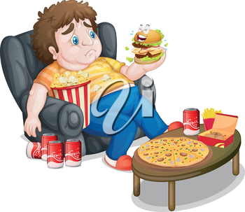 Illustration of a fat boy eating on a white background