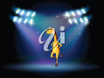 Illustration of a giraffe dancing on the stage with spotlights