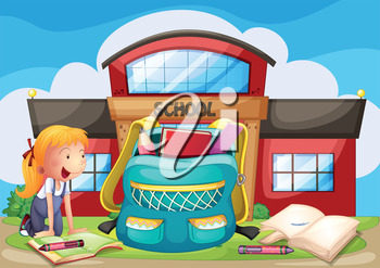 Illustration of a girl with her school supplies in front of the school building