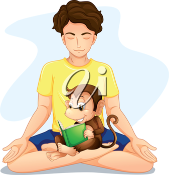 Illustration a boy doing yoga with a monkey reading on a white background