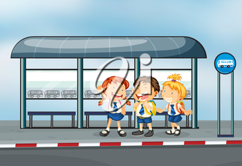 Illustration of the students at the bus stop