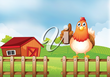Illustration of a chicken above a wooden fence at the farm