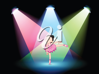 Illustration of a stage with a cute ballerina in the middle