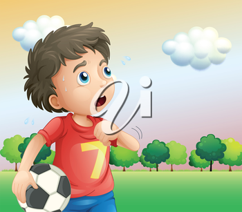 Illustration of a boy holding a soccer ball wearing a red shirt
