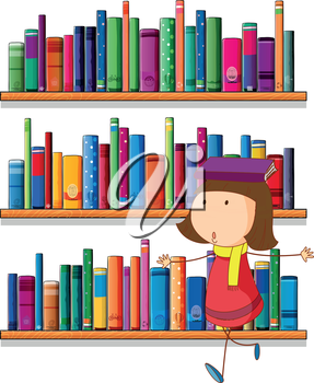 Illustration of a girl balancing a book above her head in front of the bookshelves on a white background