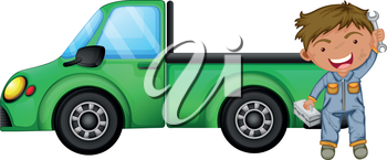 Illustration of a man holding tools in front of a green cargo truck on a white background