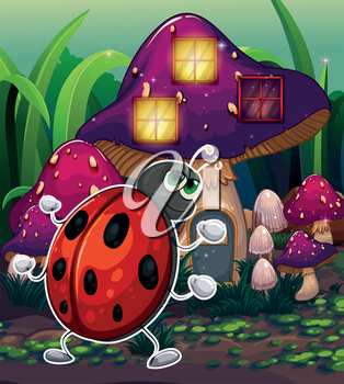 Illustration of a bug in front of the lighted mushroom house