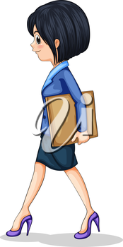 Illustration of a businesswoman walking while holding the documents on a white background