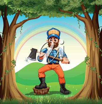 Illustration of a lumberjack stepping at the stump in the forest