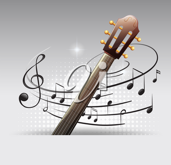 Background design with guitar and musicnotes illustration