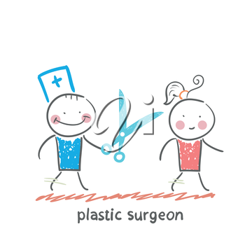 plastic surgeon with scissors running for the patient