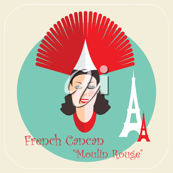 French cabaret, cancan, Moulin Rouge icon