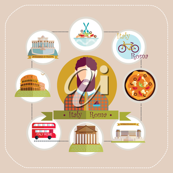 Illustration. Italy Rome man travels to Rome.