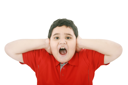 Horizontal portrait of a young boy yelling
