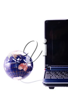 Computer and globe render The World at Your Fingertips concept