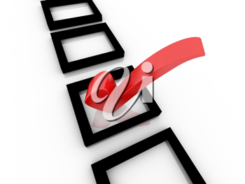 Checklist with red check isolated on white