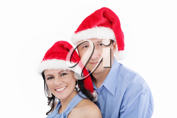 Young happy lovely couple wishing a merry christmas
