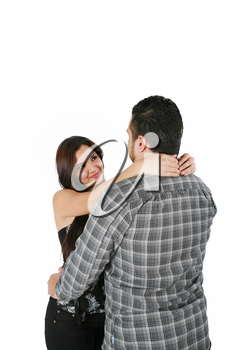 Happy loving couple hugging - isolated over a white background