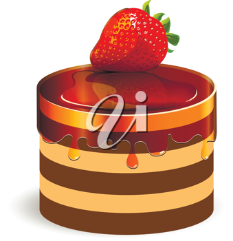Royalty Free Clipart Image of a Cake With a Strawberry