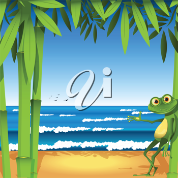 Royalty Free Clipart Image of a Frog on a Beach