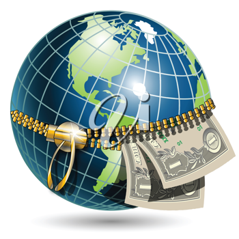 Royalty Free Clipart Image of a Globe With Money