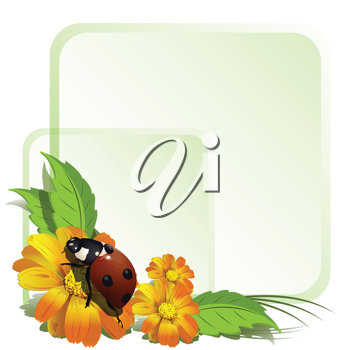 Royalty Free Clipart Image of a Ladybug on Flowers
