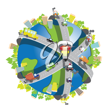 Royalty Free Clipart Image of a Globe With Highways