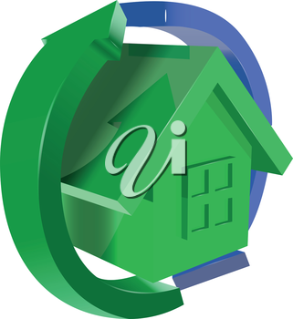 Royalty Free Clipart Image of a Green House With Arrows