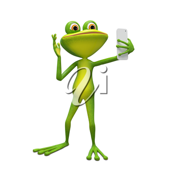 3D Illustration Frog Makes Selfi on a White Background