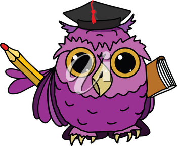 Illustration of Owl with a Book on a White Background