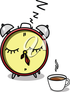 Stock Illustration Alarm Clock and Cup of Coffee on a White Background