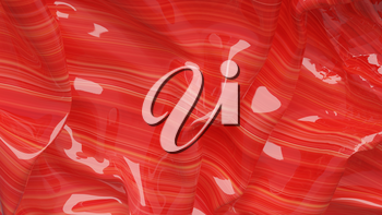 3D Illustration Red Abstract Texture Wavy Material