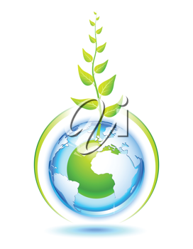 Royalty Free Clipart Image of a Globe Growing a Plant