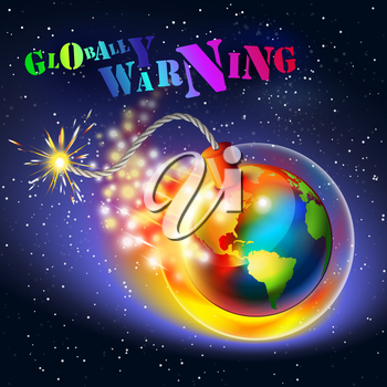 Global warming warning concept. Ozone hole, ultraviolet and greenhouse effect, colored text message.
