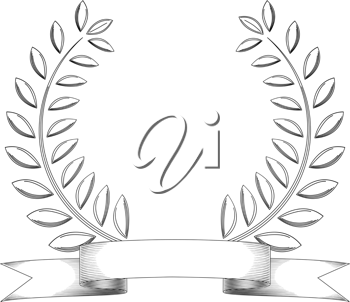 Royalty Free Clipart Image of a Wreath and Banner