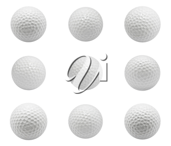 Collection of Golf balls isolated on white background