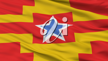 Langley City Flag, Country Canada, British Columbia Province, Closeup View, 3D Rendering