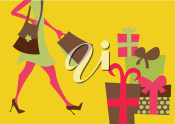 Royalty Free Clipart Image of a Person Shopping